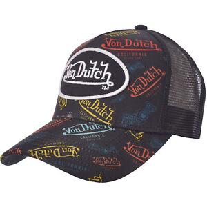 Von Dutch Mens Radiant Patch Logo Adjustable Snapback Trucker Cap Hat - Multi