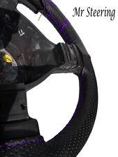 Negro De Cuero Perforado cubierta del volante de Mercedes Vaneo púrpura Stitch