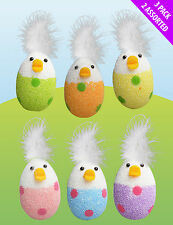 6 x FUNKY EASTER CHICK EGGS & FEATHERS HUNT GAMES CAKE BONNET DECORATIONS 06334