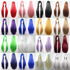 UK Women Long Straight Wigs Cosplay Costume Anime Hair Party Full Wigs 80 CM PL