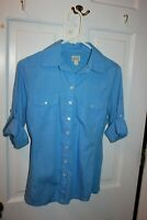 Converse One Star Blouse Size Small Color Blue with side panels long sleeve EUC