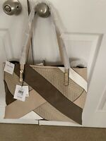 Calvin Klein Reversible Large Multi-Color Tote/WTan Pouch & Strap/ $178 NWT