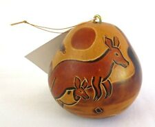 "Peruvian Carved Hand Painted Gourd Christmas Ornament Kangaroo Scene 3"" Tall New"