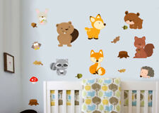Woodland Animales Pack De 18 calcomanías de pared murales Calcomanías Para Niños Fox forestales
