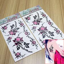 2 Sheet Temporary Tattoo Rose Flower Fake Tatoo Sticker Sexy Body Art Waterproof