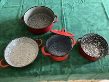 More details for job lot of hungarian red enamel cooking pots various sizes. exc. used condition