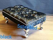foot rest pouffe stool queen anne legs uk made in crush velvet febric .