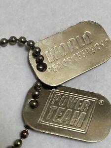 "1996 ""WORLD PEACEKEEPERS POWER TEAM"" Dog Tags for Hasbro 11"" Pawtucket G.I. Joe"