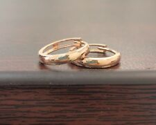 14k Solid Rose Pink Gold women`s Huggie Hoops Earrings/Aretes Argolla oro rosado
