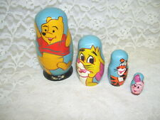 Winnie The Pooh Wooden Nesting Dolls With Rabbit Tigger And Piglet Set/ 4