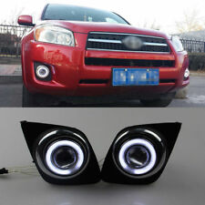 For Toyota RAV4 2009-2011 Fog Light Lamp Kit + COB Angel Eye Bumper Cover Lens