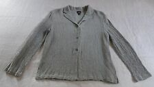 Eileen Fisher Blouse Misses S Rayon Linen Ivory Green Plaid USA Imported Fabric