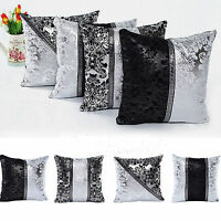 Black & Silver Diamante Crushed  Sparkle Bling Throw Cushion Cover Square Decor