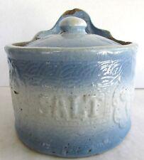 Antique Stoneware Hanging Salt Box - Salt Crock - Blue and White Salt Glaze