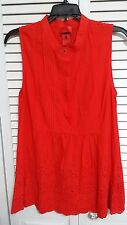 V CRISTINA Women Sz M Red Pintuck Floral Lace Perforated Scallop Hem Blouse