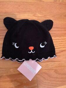 Gymboree Baby Girl 12-18m  Beanie Hat Kitty Black Nwt