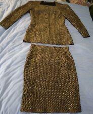 80s Italian Skirt Suit Set Rocco Barocco Gold Sparkle Crinkle Mesh