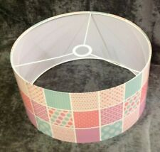 Lampshade Ceiling Pendant Patchwork Pink & Green 40 x 20cm NEW (N*)