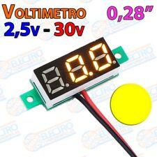 Mini Voltimetro 2,5v - 30v DC 0,28 Pulgadas 2 hilos - AMARILLO - Arduino Electro