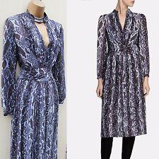 KAREN MILLEN Lace SNAKE PRINT Pleat Midi Shirt DRESS 12 UK Office Occasion Party