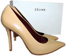 CELINE Classic Pointy Toe Pump Beige Nude Leather Heel Shoe 38.5 - 8
