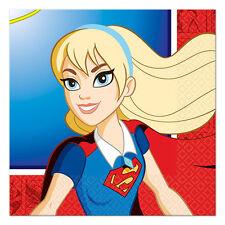 DC SUPER HERO GIRLS SMALL NAPKINS (16) ~ Birthday Party Supplies Serviettes Red