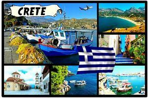 CRETE GREEK ISLANDS - SOUVENIR NOVELTY FRIDGE MAGNET - SIGHTS / FLAGS / GIFTS