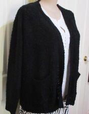 Ladies Black Bouclee KNIT Cardigan with pockets size XXL