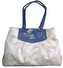 AUTHENTIC COACH ASHLEY OP ART CARRYALL BAG PURSE F20049 KHAKI/NAVY - RARE $398