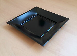 "5 10 20 50 Or 100 Black Square 7"" 18cm Disposable Plastic Plates Party Event"