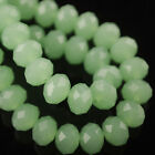 100pcs 6x4mm Rondelle Faceted Crystal Glass Loose Beads Jade Lt Green