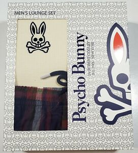 Psycho Bunny Men's Beige Crew-Neck Long Sleeve Shirt & Flannel Pant Set Gift Box