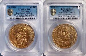 UNIQUE German Gold Obv Die Trials c.1612 Matthias II Coronation Medals PCGS MS65