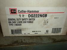 CUTLER HAMMER 60 AMP 240 VOLT 2 POLE FUSED SAFETY SWITCH DG222NGB NEMA 1 INDOORS