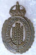 Badge- WW1 Westmorland and Cumberland Yeomanry Cap Badge KC maker JR GAUNT- ORG*