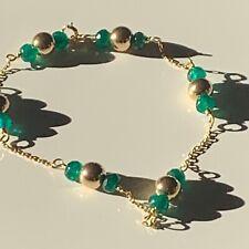 """Natural emerald 14 Ct gold bracelet 7.5 """" long"""