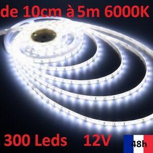 Ruban Bandeau Led Strip de 10cm à 5m 300 Leds  12V 6000K Livraison 48h offerte