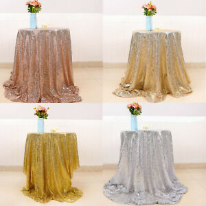Sparkly Glitter Sequin Table Cloth Cover Round Tablecloth Wedding Party Decor