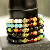7 Chakra Healing Balance Bracelets Natural stone Agate Buddha Beads Bracelets