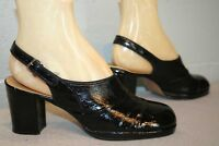 6.5 N NOS Vtg 1960s 1970s Platform Shoe Black Patent Chunky Heel 60s SlingBack