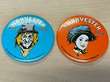 Worzel Gummidge / Aunt Sally - Scarce original 80s Harvester pin badges