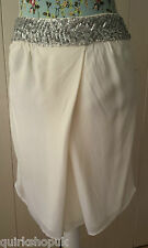 FRENCH CONNECTION ivory silver HAND SEQUINNED pleat detail party skirt 8 36 NEW