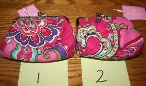 Vera Bradley Kiss Coin Purse Pink Swirls  kisslock pouch mini wallet  RARE NWT