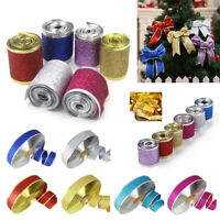 2M Christmas Ribbons Glitter Ribbon Holiday Decor Gift Wrapping Party Supplies