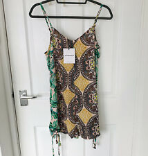 Glamorous Pink Green Leaf Paisley Beach Summer Playsuit Size 8 BNWT