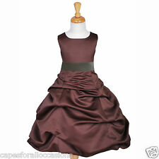 BROWN CAFE CHOCOLATE FLOWER GIRL DRESS PAGEANT HOLIDAY BRIDESMAID 4 5T 6 8 10 12