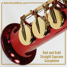 Straight Soprano Saxophone in Case - Red with Gold Colored Keys - Masterpiece