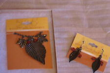 NEW BOUNTIFUL HARVEST NECKLACE & EARRINGS WITH LEAVES FROM CRACKER BARRELL