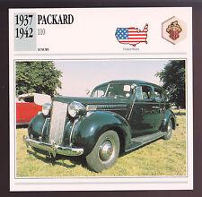 1937-1942 Packard 110 Car Photo Spec Sheet Stat Info CARD 1938 1939 1940 1941