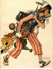 "NORMAN ROCKWELL 1943 Painting MISS LIBERTY Classic ART, 17x13"" Americana"